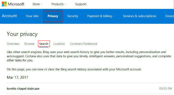 search history cortana and bing