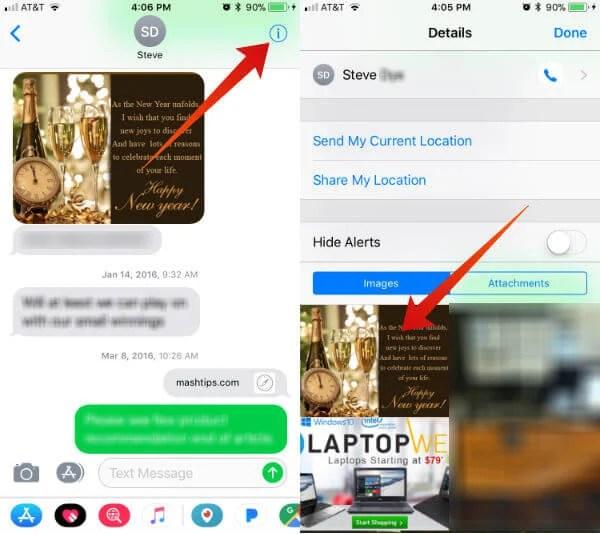 Delete iPhone Message Attachments