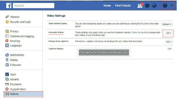 facebook video autoplay turn off website settings