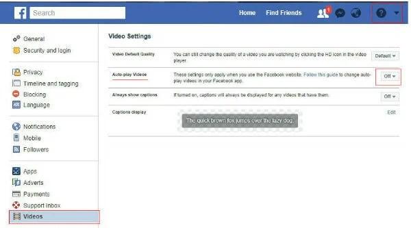 facebook video autoplay turn off website settings