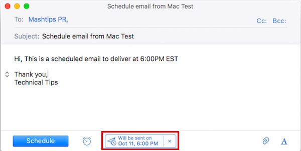 Mac Schedule Email for date