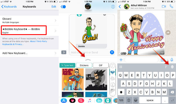 iOS bobble keyboard with stickers