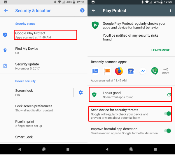 Google Play Protect Settings