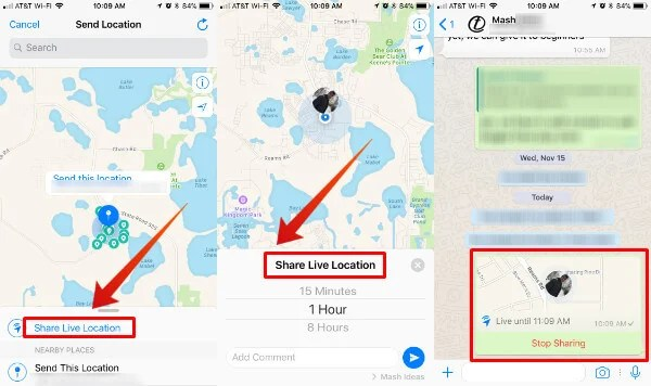 WhatsApp Live Location Sharing iOS2