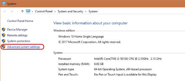 Windows advanced settings