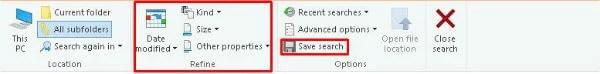 Windows 10 File Explorer Search Menu