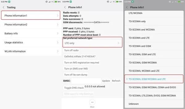 Phone info default