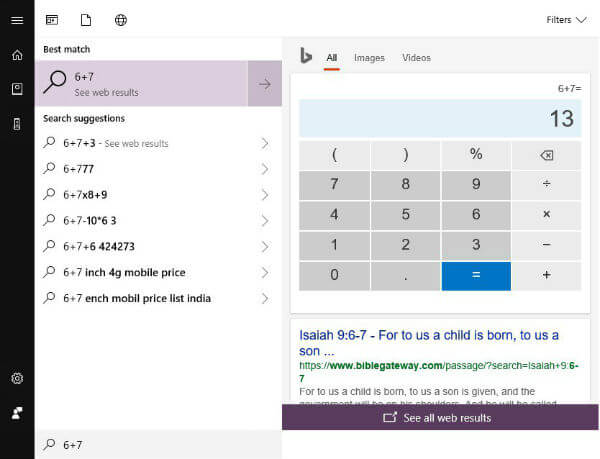 Windows 10 Quick Calculation