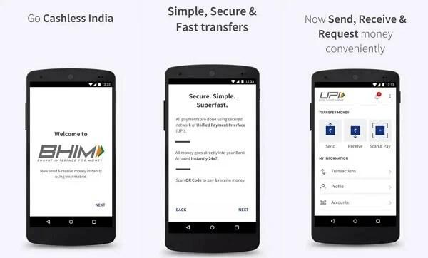 BHIM payment app - digital wallets