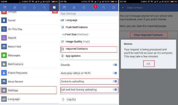 Facebook lite app settings