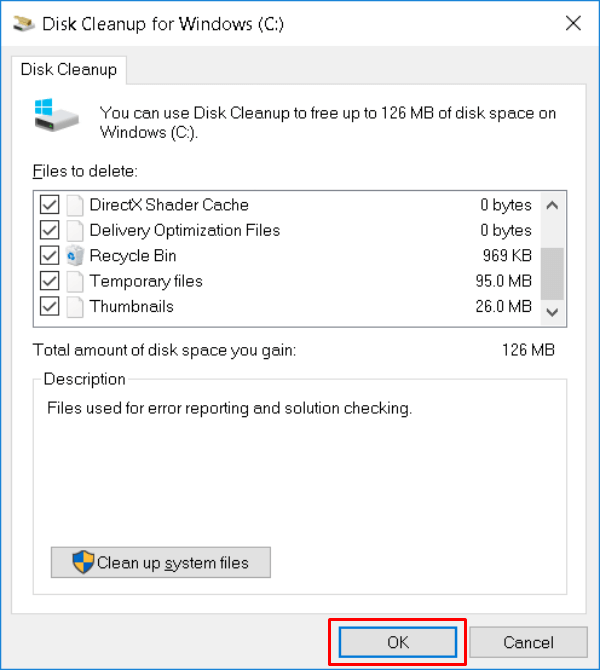 Windows10 Disk Cleanup