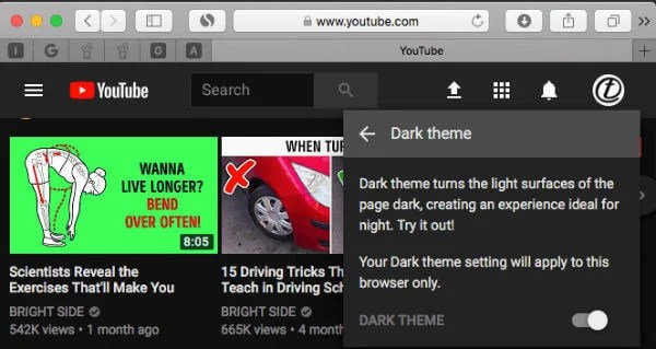 YouTube Dekstop Dark Theme