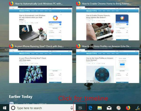 windows 10 time line menu