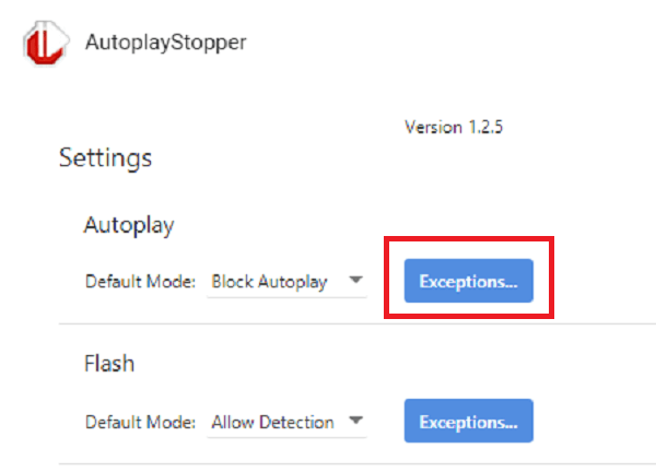 Autoplaystopper exceptions chrome