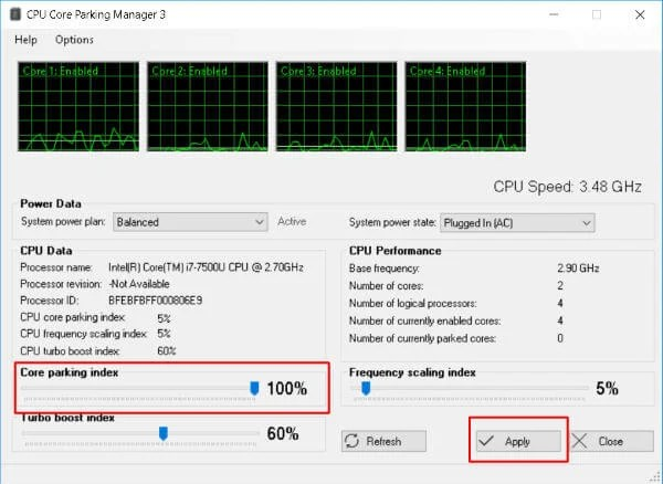Unpark CPU gaming optimization