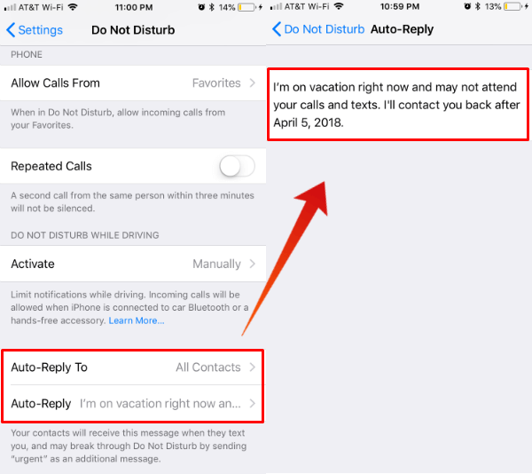 text message auto reply iphone how to set out of office auto reply message on iphone for 18072
