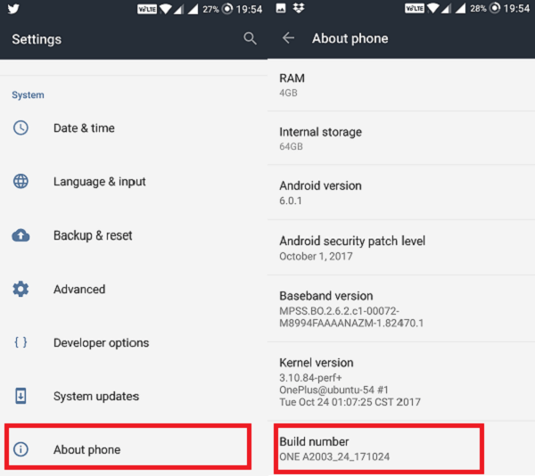 Android Settings About Phone