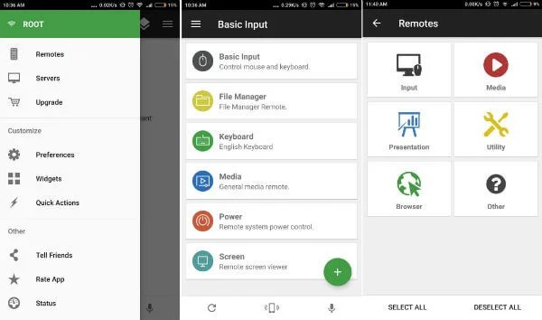 Unified Remote Android for convert android to mouse and keyboard