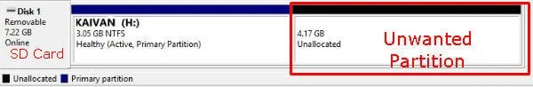 Disk Management Partitions recover sd card space