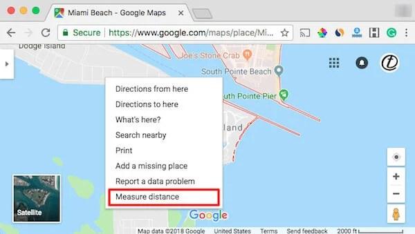 Google Map Measure Distance