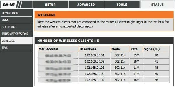 Users connected on router wifi usage