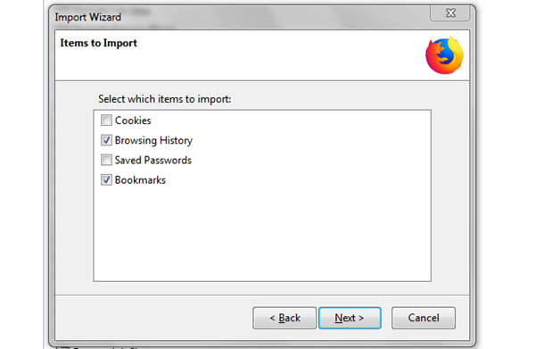 windows firefox import options