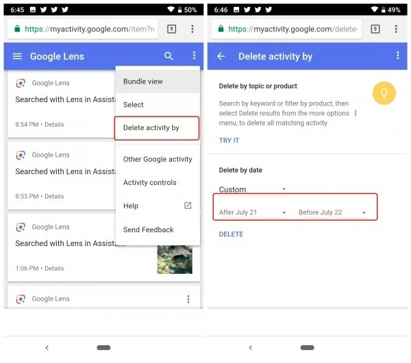 Select Google Lens activity by date range