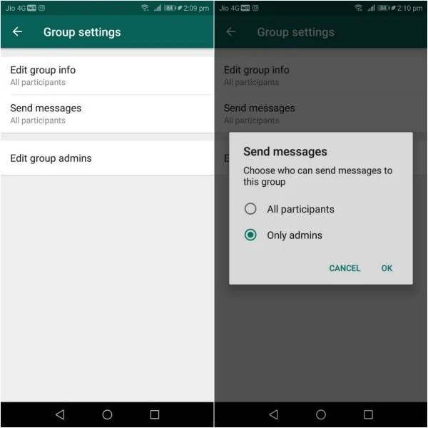 Restricting group members from sending messages in WhatsApp