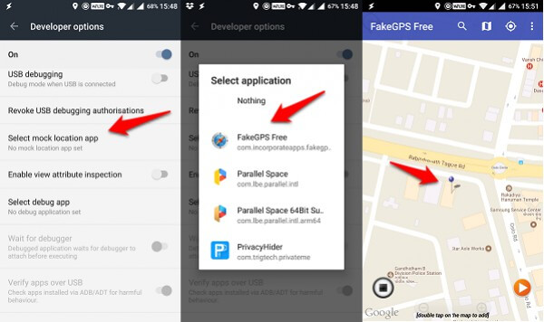 android developer options mock gps