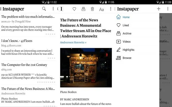 android instapaper layout