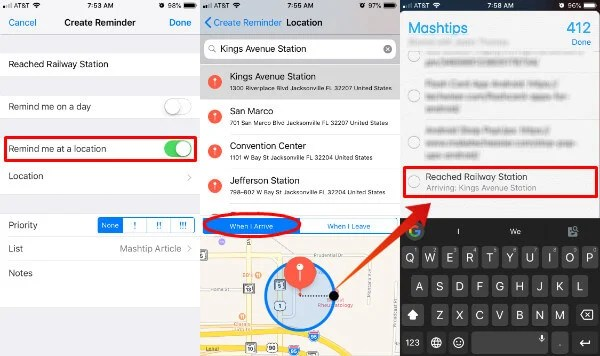 iOS Reminder Location Set