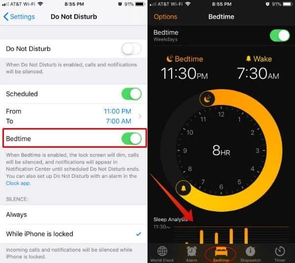 iPhone BedTime Do Not Disturb