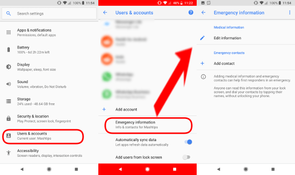 Android Oreo Google Pixel Emergency Info 1