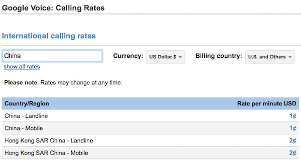 Google Call Rates