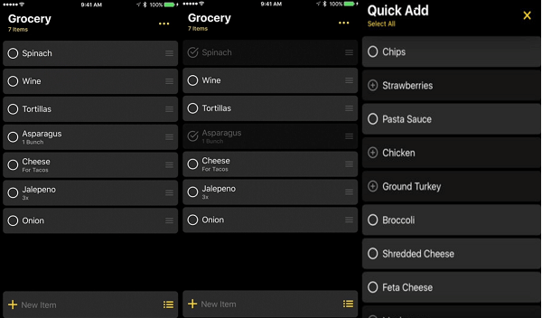 iphone smart grocery entries