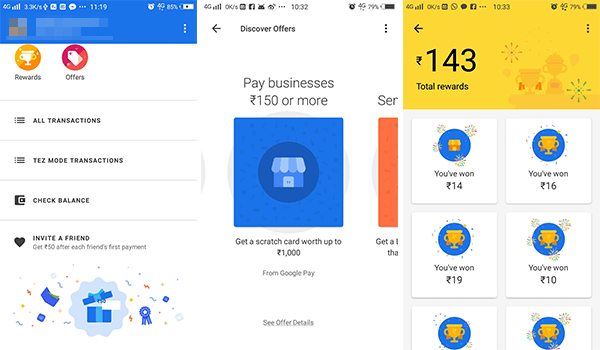 Offers cashbacks and rewards in Google Pay Tez