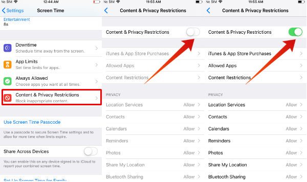 iPhone set restrictions on