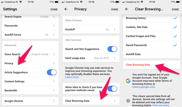 iphone chrome settings