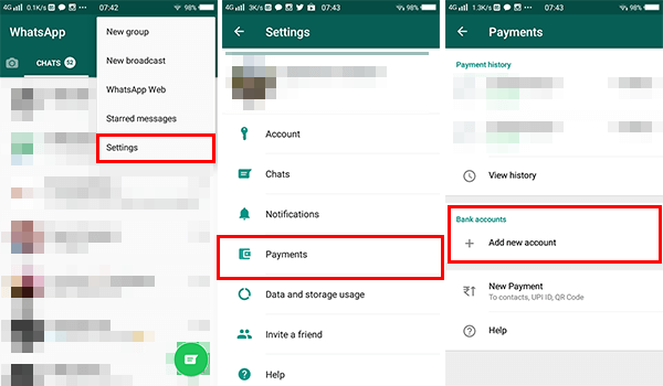 Set up whatsapp payment on Android