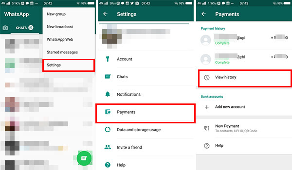 View transaction history in WhatsApp payments