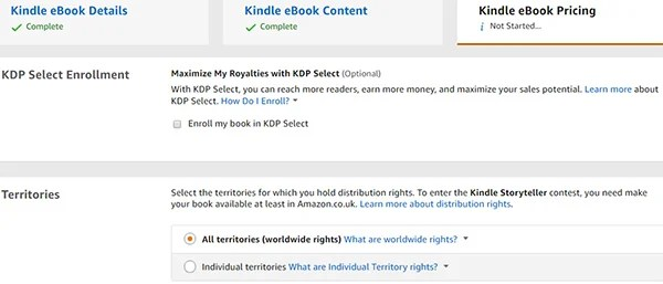 Amazon Kindle KDP Select and Choose Territories