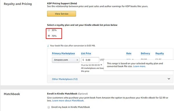 Choose Royalty Option and Pricing in Amazon Kindle KDP