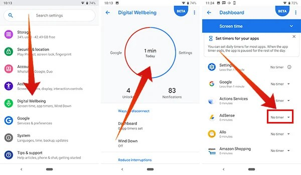 How to set app timer in Digital Wellbeing