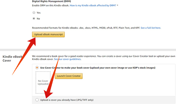 Upload eBook Manuscript and Cover Page in Amazon Kindle