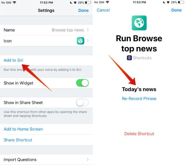 iphone run shortcuts with siri