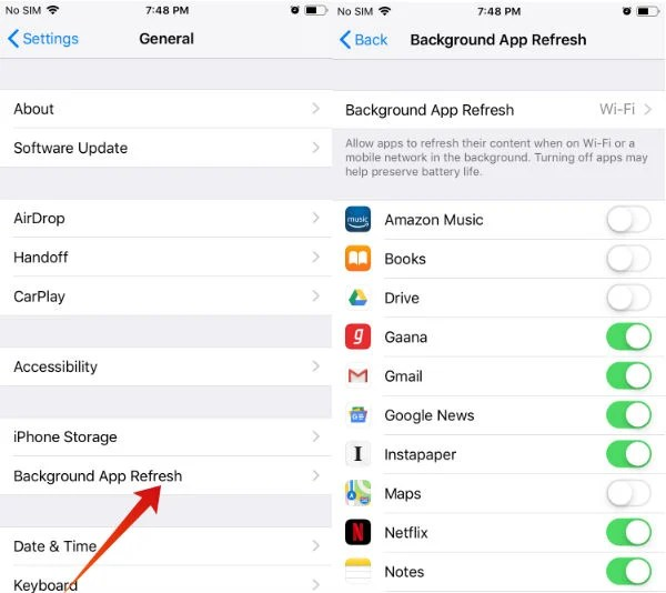 iphone save battery background refresh