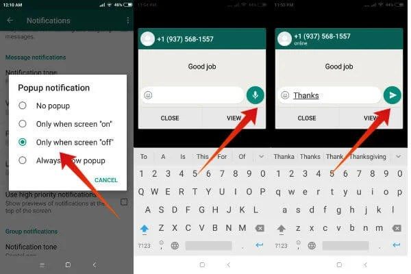 android whatsapp reply from notifications