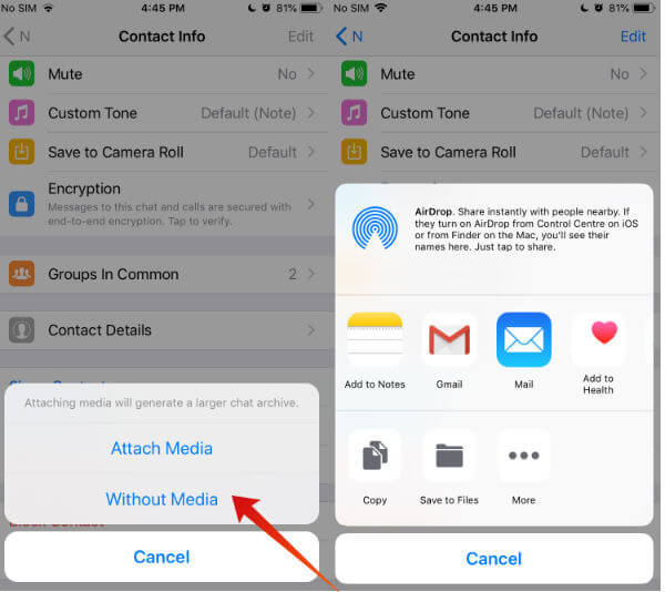 iphone whatsapp export chat