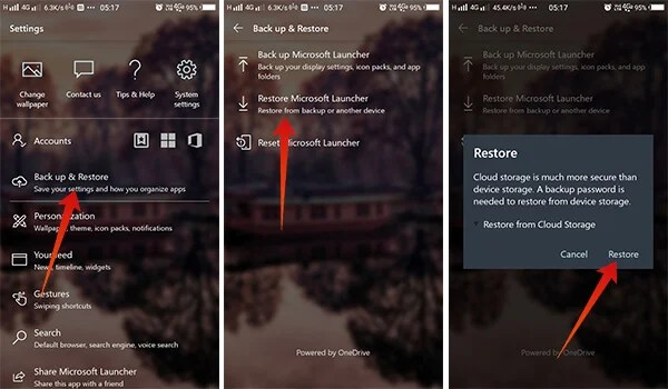 Screenshots showing How to restore launcher settings in Microsoft Launcher