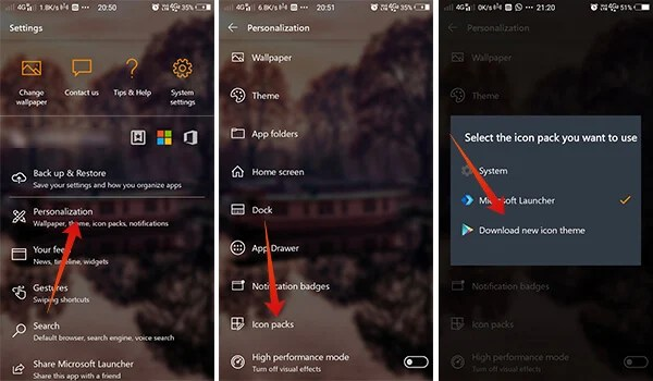 Guding screenshots to Install custom icon packs on Microsoft Launcher